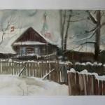 Зимний пейзаж акв. белила 38,5-47 2013г.